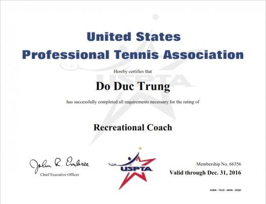 Chứng chỉ của Hiệp hội quần vợt nhà nghề Mỹ - USPTA